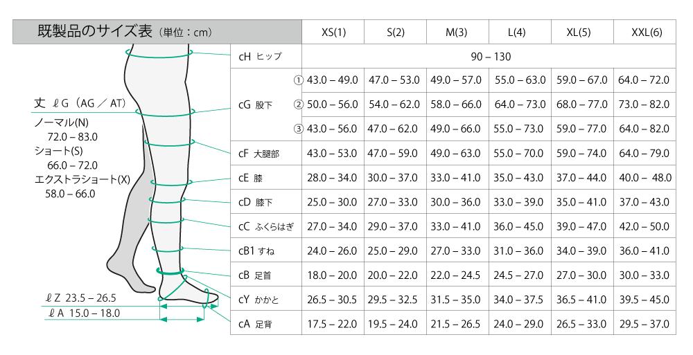 【サイズ表】Juzoダイナミック ストッキング/Juzoダイナミックコットン ストッキング