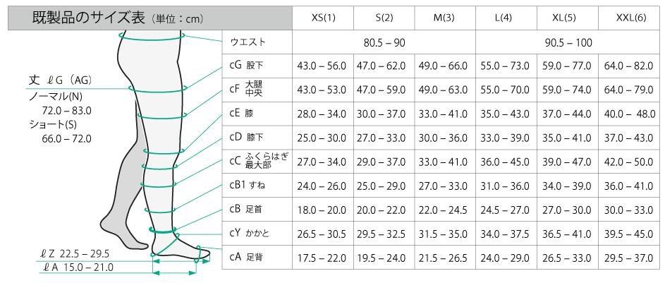 【サイズ表】Juzoダイナミック ベルト付き片脚ストッキング